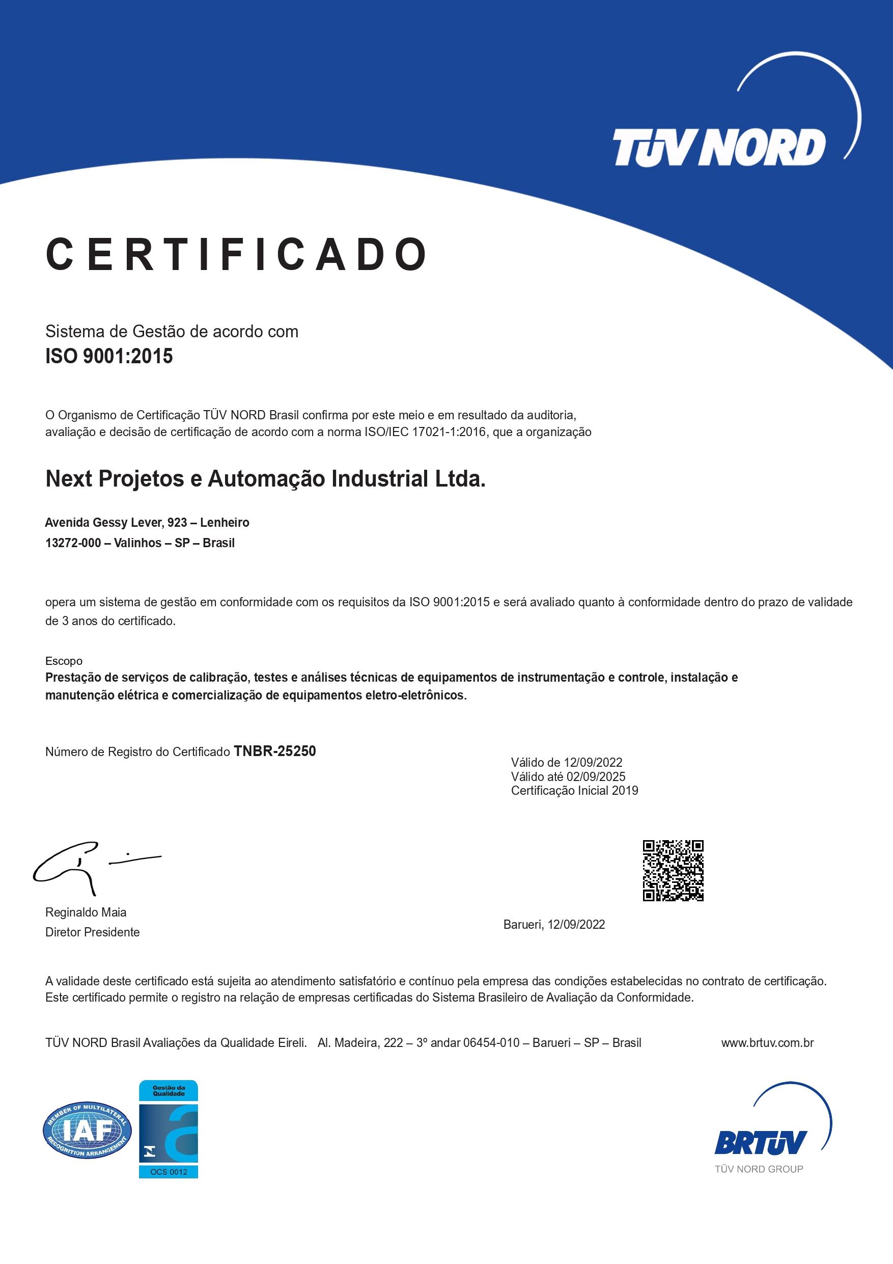 Certificado ISO-9001